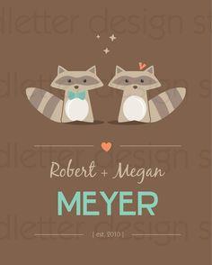 Raccoon Couple Print by NOTESbyredletter on Etsy, $14.00