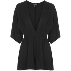 TopShop Plunge Front Jersey Playsuit ($35) ❤ liked on Polyvore featuring jumpsuits, rompers, playsuits, topshop, black, jump suit, black romper jumpsuit, black romper, formal romper and formal jumpsuits
