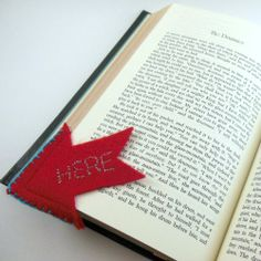 "Lose your place reading? Use the pattern included to make a felt bookmark to remind yourself that you stopped ""Here!"""