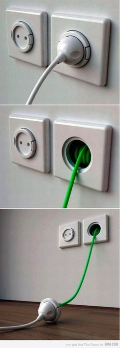 Extension cord built into the wall outlet