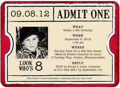 Birthday Party Invitations Movie Theme Carnival Ticket Invitation Parties