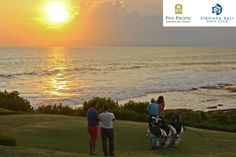 Beautiful horizon of #Sunset, Indian Ocean, #Golf Course & the Iconic. Tanah Lot Temple #PanPacificBali #Bali
