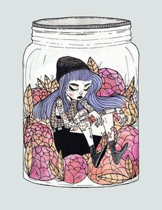 I drew this the other day when I was dealing with anxiety. Most of the time I feel like I can hide it and bottle it up but sometimes it's better to just draw it out. I can b (Bottle Sketch Drawings) Art And Illustration, Illustrations, Paintings I Love, Watercolor Paintings, Watercolor Paper, Art Sketches, Art Drawings, Cute Art Styles, Arte Horror