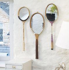 vintage tennis rackets converted into mirrors. I have a vintage tennis racket! Spiegel Design, Vintage Tennis, Vintage Sport, Diy Mirror, Wall Mirrors, Mirror Ideas, Mirror Inspiration, Mirror Art, Framed Wall