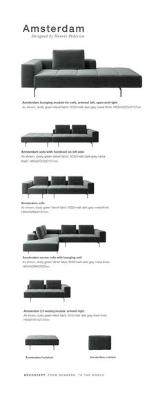 Amsterdam sofa is sharp lines and sweeping curves. Comfort and luxury imbue every detail to make Amsterdam the perfect sofa for a soft and inviting statement in your living room. With plenty of room for the entire family this corner sofa will be the hero of your living room. Visit furniture store BoConcept Sydney for more info.