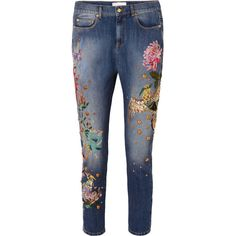 Zuhair Murad Embroidered embellished low-rise slim boyfriend jeans ($1,845) ❤ liked on Polyvore featuring jeans, low rise boyfriend jeans, blue jeans, embellished boyfriend jeans, faded jeans and embellished jeans