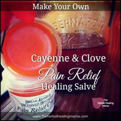 Natural Remedies For Menstrual Cramp Make your own - Cayenne Clove Pain Relief ~ Healing Salve - Recipe for Remedy. Natural Medicine, Herbal Medicine, Remedies For Menstrual Cramps, Menstrual Migraines, Menstrual Cycle, Salve Recipes, Headache Remedies, Cramp Remedies, Back To Nature