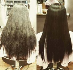 Beautiful long hair and yes, straight~