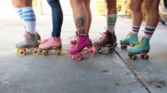 Don't think girls can skate? The Moxi Skate team is a powerhouse of thick thighs, knee socks, and killer drop ins. Watch as these skate sisters . Outdoor Roller Skates, Retro Roller Skates, Quad Roller Skates, Roller Derby Girls, Snowboard Girl, Skate Girl, Inline Skating, Badass Women, Beach Bunny