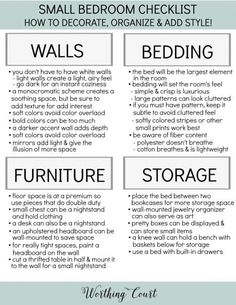 A small bedroom can a challenge to work with. Here you'll find loads of smart ideas for how to organize, decorate and add style to a small bedroom.