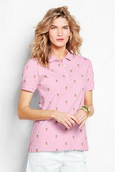 Women's Short Sleeve Print Pique Polo Shirt from Lands' End