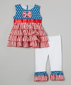Loving this Blue & Red Patriot Rumba Top & Pants - Infant, Toddler & Girls on #zulily! #zulilyfinds