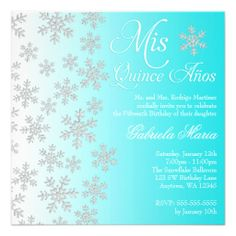 Fancy Teal Snowflake Winter Wonderland Quinceanera Personalized Announcement