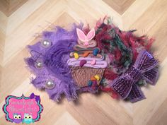 A personal favorite from my Etsy shop https://www.etsy.com/listing/263971120/easter-shabby-hair-bow-purple-bunny-hair
