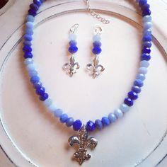 Blue Crystal Fleur di Lis set