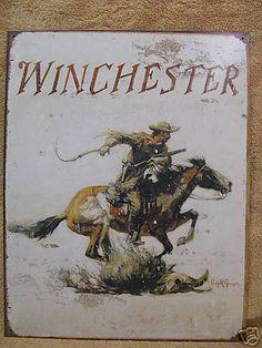 Winchester Logo Tin Metal Sign Decor Cowboy Horse | eBay