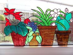 Stained Glass Flower Pots