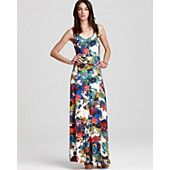Three Dots Floral Print Maxi Dress with Slit