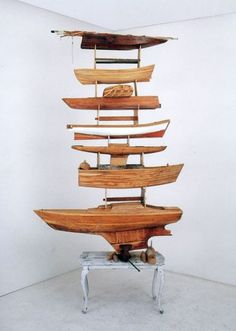 "Wood Art by Alexis ""Kcho"" Leyva Machado Infinite column - Boats and table, 2005"