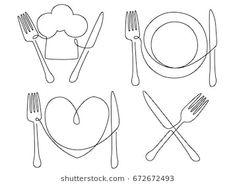 line drawing cutlery plate drawings shutterstock restaurant food