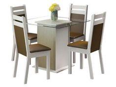 Conjunto de Mesa com 4 Cadeiras Estofadas Madesa - Carol