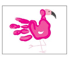 Paint your hand and press it on the paper to make a print like the one shown. Allow the paint to dry. Use the crayons to add a head and legs.