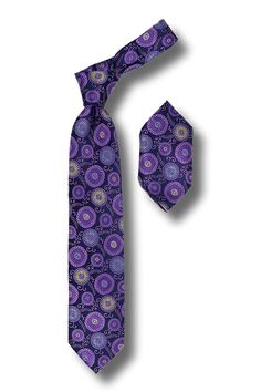 Men's Silk Tie & Hanky Set by Steven Land - Purple Pattern Dot Tie Set for…