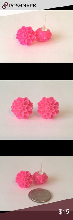 Post Earrings Chrysanthemums Handmade Hot Pink Your new favorite earrings! These flower posts will go with everything and come in EVERY color of the rainbow (check out my boutique for more color options!). Made of lightweight resin they can be worn all day, in any occasion. Buy your favorite color or create a bundle and make an offer! Discounts on bundles - 3 pair for $20 OR 5 pair for $30. Add to bundle and make that offer and I'll accept! RackFocus Jewelry Earrings