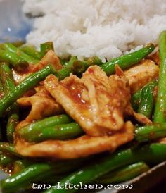 """Stir-fried chicken with red curry paste and long green bean that made easy to find. In Thailand we called """"Gai Pad Prik Khing"""" This is ea..."""