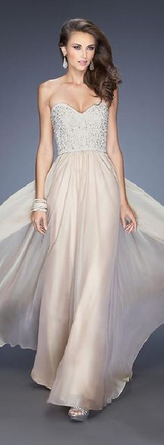 Sweetheart A-Line Champagne Long Natural Prom Dresses coodress14342