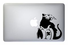 Banksy Style Panda With Guns MacBook Decal Matt Black 11 13 15 17 air pro retina