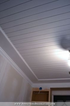 Best Cheap Basement Ceiling Ideas in 2018 Basement Ceiling Ideas exposed, low ceiling, basement make over Wood Plank Ceiling, Shiplap Ceiling, Ceiling Trim, Home Ceiling, Bedroom Ceiling, Wood Ceilings, Wood On Ceiling Ideas, Cheap Ceiling Ideas, Painted Wood Ceiling