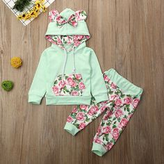 US Canis Kid Baby Girl Long Sleeve Floral Hooded Tops Pants Winter Warm Clothes