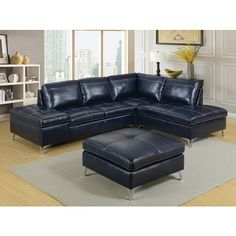 Leather Sleeper Sofa  pc Sadie collection dark blue leather gel upholstered sectional sofa