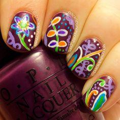 PackAPunchPolish: Vera Bradley Plum Crazy Inspired Floral Nail Art  #OPIEuroCentrale #VantToBiteMyNeck?