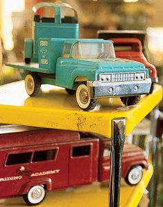 Vintage toy truck love the one with the horse trailer!!