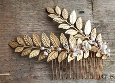 Gold bridal hair comb bridal headpiece bridal accessories comb for bride gold leaves gold ferngold vine wedding hairpiece boho bride Hair Comb Wedding, Wedding Hair Pieces, Bridal Hair, Gold Headpiece, Accesorios Casual, Bride Hair Accessories, Gold Hair, Bride Hairstyles, Bridal Headpieces
