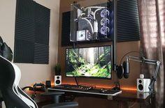 8 Cheap Things to Maximize a Small Bedroom . Gaming Room Setup, Gaming Desk, Computer Setup, Pc Setup, Desk Setup, Gaming Rooms, Office Setup, Basement Office, Computer Technology