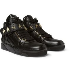 ■GIVENCHY■  Metal Star-Trimmed Leather High Top Sneakers
