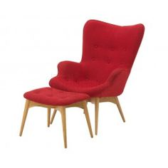 Featherston Chair and Ottoman Red