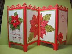 Divided Poinsettia by ckbythesea - Cards and Paper Crafts at Splitcoaststampers Beautiful! Handmade Christmas, Christmas Crafts, Crochet Christmas, Christmas Christmas, Fancy Fold Cards, Folded Cards, Xmas Cards, Holiday Cards, Screen Cards