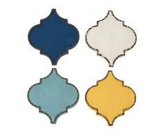 Set di 4 decorazioni da parete in metallo Marrakech azzurro/turchese/bianco/giallo, 32x36x3 cm | Dalani Home & Living