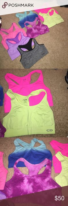 7 sports bras bundle All excellent condition. All small except for the neon pink which is medium. All very comfortable. Each only worn a few times Champion Intimates & Sleepwear Bras