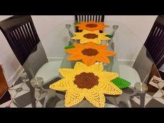 Girasoles en crochet #1para camino de mesa - YouTube