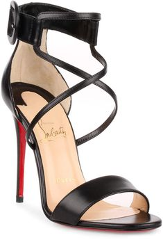 Black leather sandal from Christian Louboutin. The Chocha has a stiletto heel, an adjustable ankle strap, and cross-over straps. Christian Louboutin Sandals, Christian Louboutin Outlet, Louboutin Shoes, Red Stiletto Heels, Fashion Heels, Women's Fashion, Fashion Outfits, Hot Heels, Sexy Heels