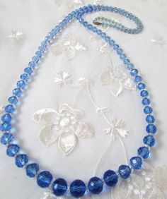 Antique Faceted Blue Glass Necklace Bead by VintagePolkaDotcom, $58.00  #antiqueglassnecklace #anitquenecklace #blueglassnecklace