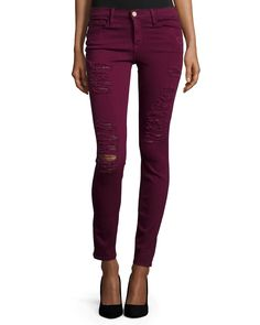 Le Color Rip Skinny Distressed Jeans, Port, Size: 28 - FRAME