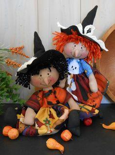 PDF E Pattern  80 Raggedy Halloween Witch Doll Primitive Folk
