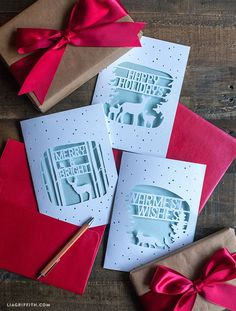 Elegant Paper Cut Christmas Cards! For your last minute handmade Christmas cards, consider making one of these gorgeous paper cuts. (with template)