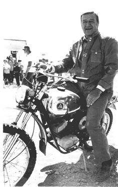 John Wayne sitting on a Honda dirt bike! Another reason to ride one! (note to original creator: that's a Hodaka! John Wayne, Honda Dirt Bike, Dirt Bikes, Harley Davidson, Westerns, Vintage Motorcycles, Vintage Motocross, Custom Motorcycles, Classic Bikes